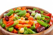 picture of lenten  - mixed vegetables in wooden bowl on white - JPG