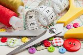 stock photo of coiled  - Sewing items - JPG