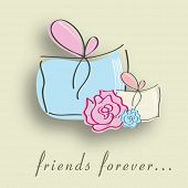 Happy Friendship Day background with gift boxes, flowers and text friends forever.