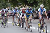 KIEV, UKRAINE - MAY 24: Main group of riders in the bicycle racing Race Horizon Park in Kiev, Ukrain