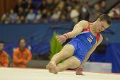 KIEV, UKRAINE - MARCH 31: Casimir Schmidt, Netherlands performs floor exercises during International
