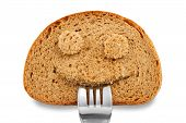 Bread Slice As Smiling Face With Fork In Your Mouth
