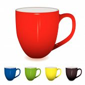 stock photo of coffee-cup  - coffee cup with shadow and five colour variations - JPG