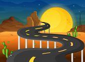 Ilustración de una luna llena al final de la sinuosa carretera