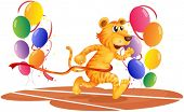 Illustration of a tiger running with colorful balloons on a white background