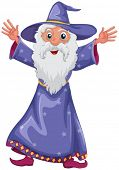 Illustration of an old wizard on a white background