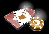 stock photo of unsafe  - Pastel gray  insecure metaphor 3d graphic with exclusive unsafe symbol  on poker cards - JPG