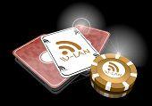 Illustration of a glaring w-lan icon  on poker cards