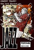 Vector illustration of a Jazz poster with trumpeter