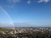 Rainbow Over Manoa, The City Of Honolulu, And Diamond Head