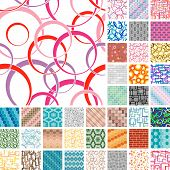 stock photo of hexagon pattern  - Set of 40 seamless patterns in retro style - JPG