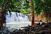 stock photo of mauritius  - Rochester falls in jungle of Mauritius island - JPG