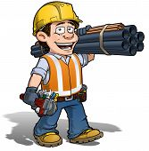 image of pipe wrench  - Cartoon illustration of a construction worker  - JPG