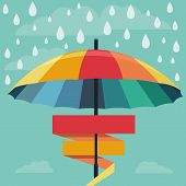 stock photo of awning  - Vector umbrella and rain drops in rainbow colors  - JPG