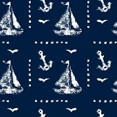 Grunge white stamp print sailboat, anchor and seagull on navy blue background seamless pattern, vect