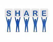 Men holding the word share. Concept 3D illustration.