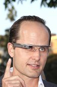 LOS ANGELES - MAY 29: A man is seen wearing Google Glass at the premiere of 'The Internship' at the