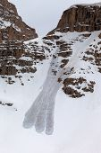 Snowy Rocks And Avalanche