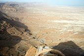 picture of masada  - View to the Jdean desert from Masada fortress Israel - JPG
