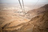 picture of masada  - View of the Dead Sea and the cable car to the Masada fortress Israel - JPG
