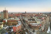 GDANSK, POLAND - 14 FEB 2011: Panorama of Gdansk city centre on 14 February 2011. Gdansk is a Polish