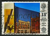 UK - CIRCA 1987: A stamp printed in UK shows image of the Willis Faber and Dumas Building, Ipswich,
