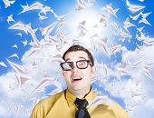 image of float-plane  - Hectic travelling business man swamped with heaps of planes to catch when dealing with an intense flight plan schedule - JPG
