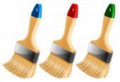Set of three paint brushes. Vector illustration.