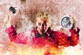 Burning Girl Holding Clock And Hammer. Apocalypse Now