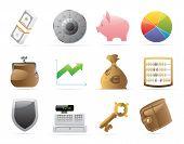 Ícones de Finanças, dinheiro e segurança