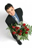 stock photo of one dozen roses  - Man on one knee - JPG