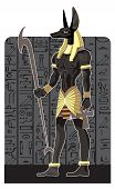 Mighty Great dark Anubis on dark Egypt background