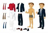 Businessman Doll-Dress with a set of business clothes in shades