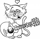 Cat In Love Cartoon Coloring Page
