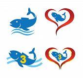 Vektor-Logo Omega Fisch auf Herz