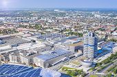 Munich, Germany- June 17, 2012: Aerial View Of Munich Industrial Part Including Bmw Main Office Buil