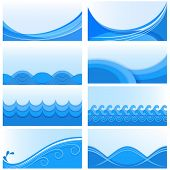 Set of blue wave vector backgrounds with white copy space.