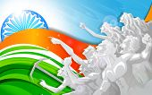 picture of ashok  - vector illustration of people raising hand in Indian Tricolor flag - JPG