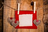 Valentine Background Hand-sewn Heart Wood Wooden