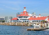 LONG BEACH, CA - September 21, 2012:  Parkers Lighthouse Restaurant at Shoreline Village in Long Bea