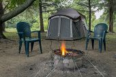 Camping Fire And Tent
