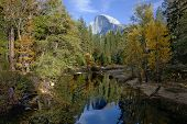 picture of granite dome  - Fall view of Merced River Half Dome Yosemite Valley - JPG