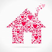 stock photo of chimney  - Valentine day love declaration red hearts home - JPG