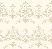 stock photo of scrollwork  - Elegant vector wallpaper fill pattern with damask floral pattern - JPG