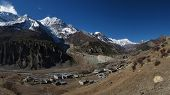 View of Manang, Gangapurna and Tilicho Peak