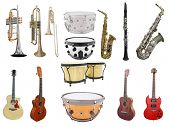 Music instruments isolated under a white background