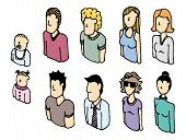 Colorful Peopl Icon Set or Lineart Avatars