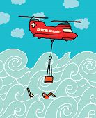 stock photo of rescue helicopter  - Cartoon illustration of a Rescue helicopter at the sea - JPG