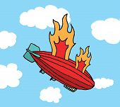 Zeppelin On Fire Falling or Big Failure