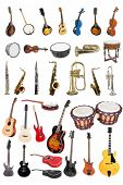 The image of music instruments isolated under a white background